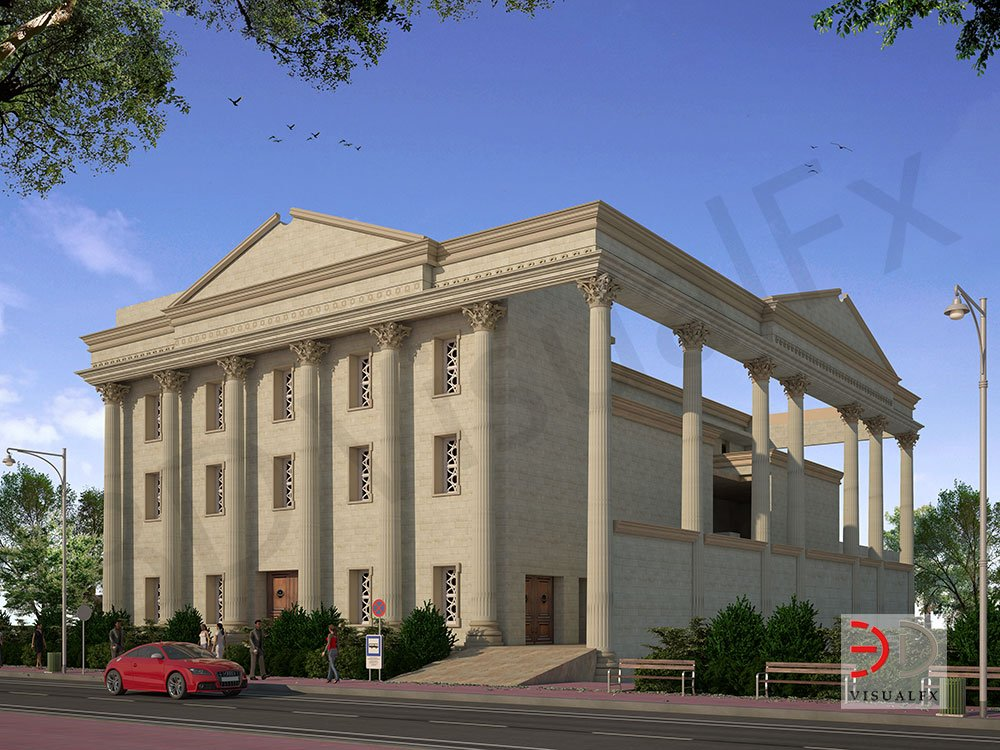 Sai Temple 3D Rendering