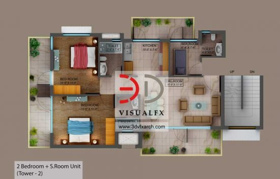 2 Bedroom - 3D Floor plan rendering in India