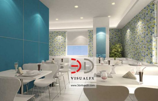 Office cafeteria 3d interior rendering