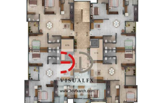 3 bhk duplex house plan 3d